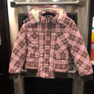 Pink plaid jacket with removable hood